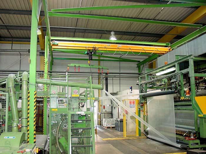 Materialflussplanung anlässlich der Verlagerung einer Luftpolsterfolien-Produktion – die Produktionsanlage vor der Verlagerung