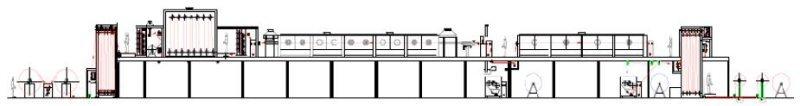 MES systems® Veredelungsanlagen: Klassische Ausrüstungsanlage mit Foulard und Spannrahmen; Beispiel: Kontinueanlage mit Imprägnierung, Vortrocknung, Beschichtung, Trocknung und Fixierung