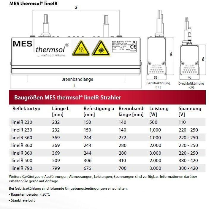 MES thermsol® line IR Infrarot Linienstrahler: Baumaßskizzen und Baugrößen
