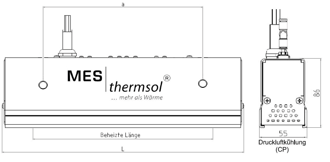 MES thermsol® lineIR CP Infrarot-Strahler kompakt - Skizzen
