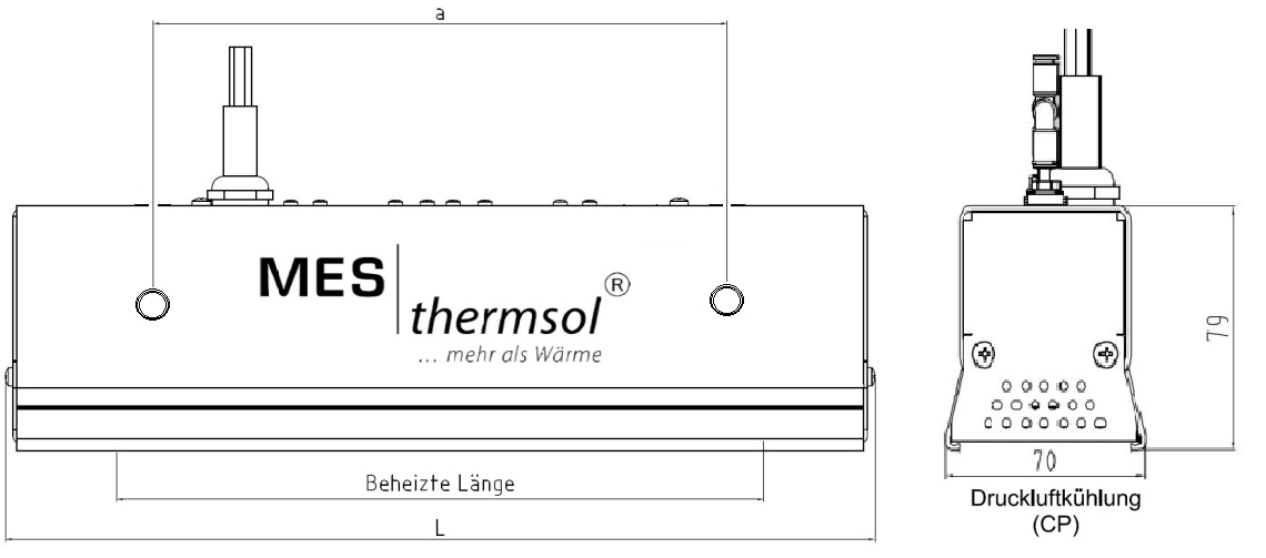 MES thermsol® plainIR CP Infrarot-Strahler kompakt - Skizzen