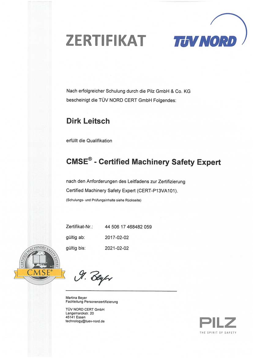 TÜV-Zertifikat CMSE® - Certified Machinery Safety Expert