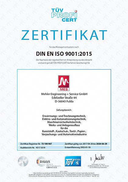 TÜV Zertifikat Managementsystem DIN-EN-ISO-9001-2015