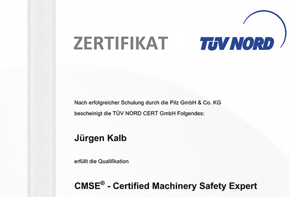 CMSE® - Certified Machinery Safety Expert (zertifizierter Maschinensicherheitsexperte)