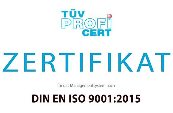 Zertifikat für das Managementsystem nach DIN EN ISO 9001:2015