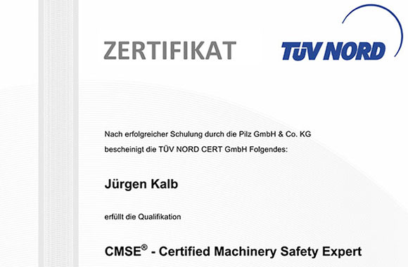 Zertifikat CMSE® - Certified Machinery Safety Expert