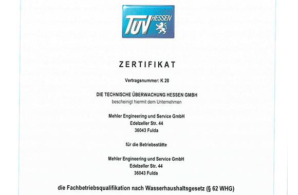 Zertifikat Fachbetriebsqualifikation nach Wasserhaushaltsgesetz